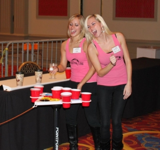 Girls playing Point Pong